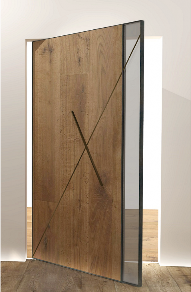 Croads pivoting door, patinated oak with a touch of brass. Structure made of blue patinated iron.