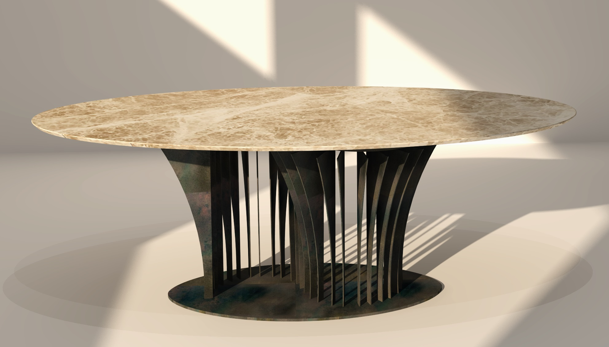 Table of marble Emperador Light, with a structure of patinated iron.