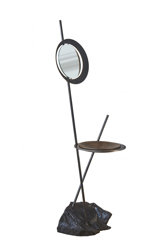 Mirror Atlas made of belgian bluestone, patinated bluesteel and oak with bronze patina.