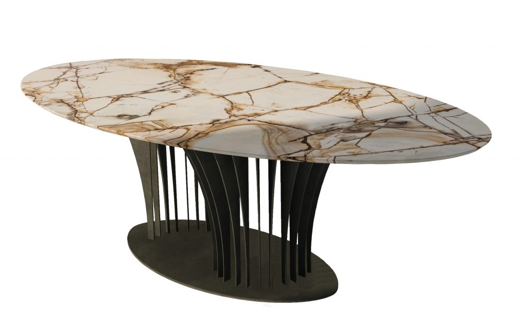 Made by Nature, highlighted by Binôme. Table ovale marble Spiderman
